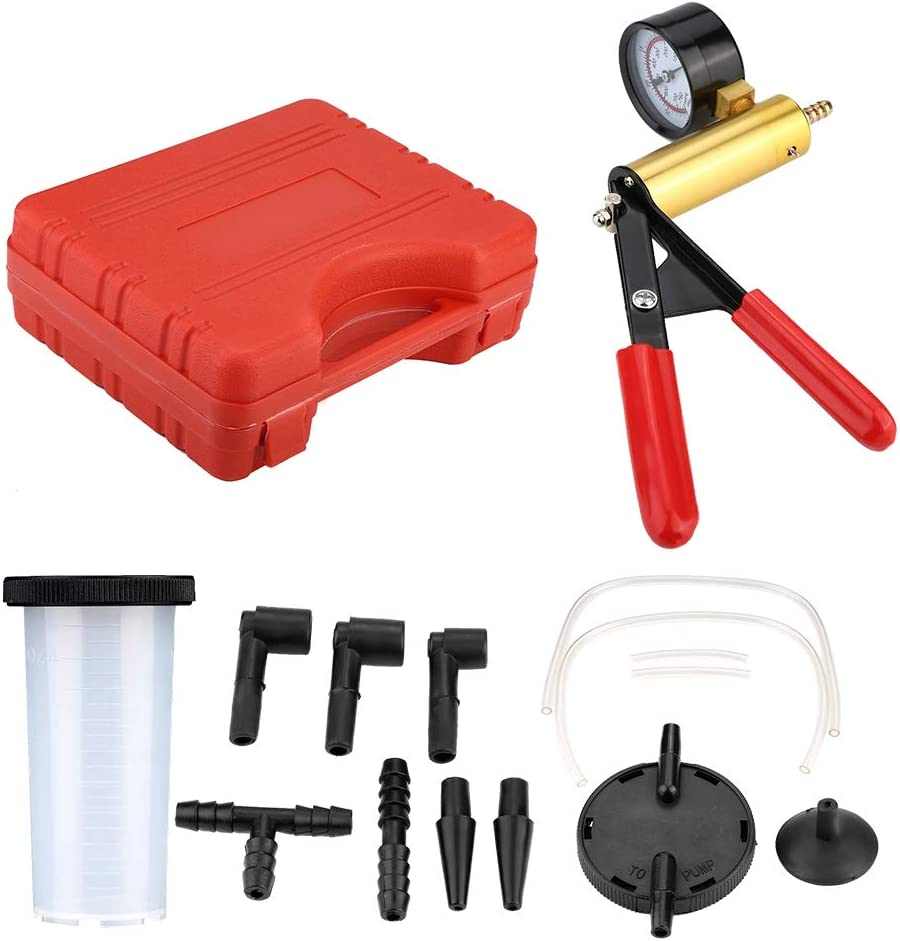 Auto Hand Held Vacuum Pump Tester Set Vacuum Gauge and Brake Bleeder Kit for Automotive with Adapters & Easy Carry Case