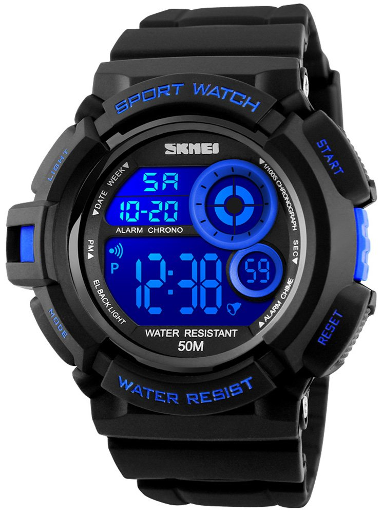 Fanmis Mens Multi Function Alarm Stopwatch 7 Color LED Backlight Digital Watch 50M Waterproof Electronic Sports Watches Blue