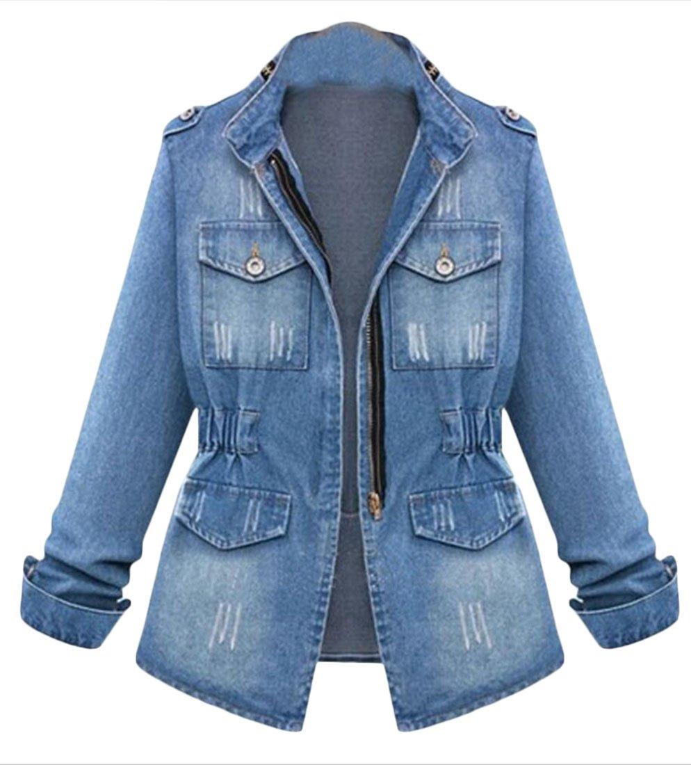 Earnest Womens Zipper Plus Size Long Sleeve Denim Shirts Jacket Light Blue XXXL