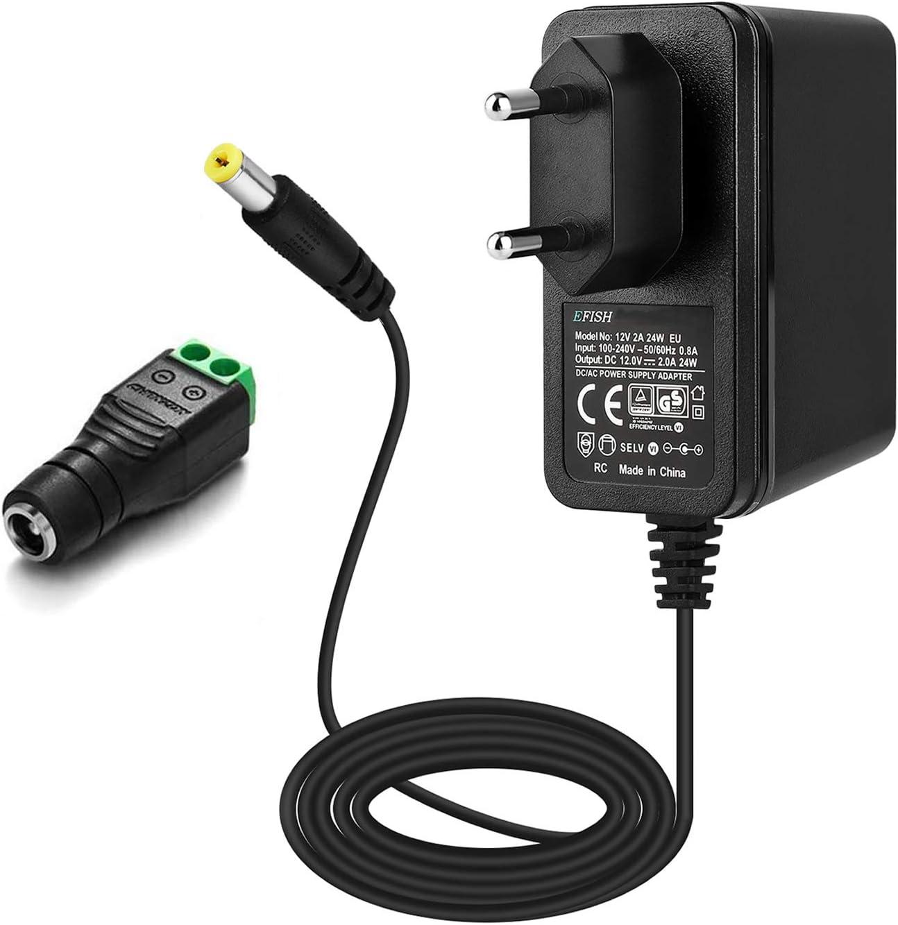 EFISH 12V 2A 24W Adaptador de Fuente de Alimentación del Transformador,Cámara CCTV,Teclado Yamaha,Enrutadores,Concentradores,Tiras de LED,Alarma,Masajeador,Timbre de la Puerta,Aprobación CE/GS