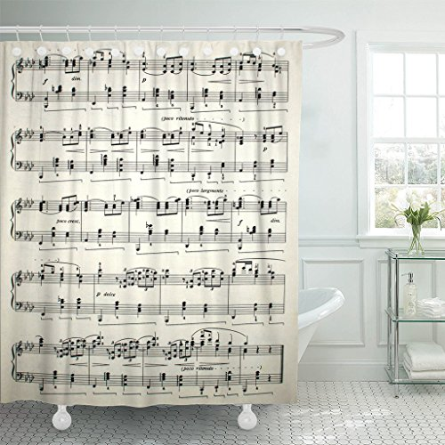 TOMPOP Shower Curtain Aria Sheet of Music Stave Concerto Education Interpretation Key Waterproof Polyester Fabric 72 x 72 Inches Set with Hooks