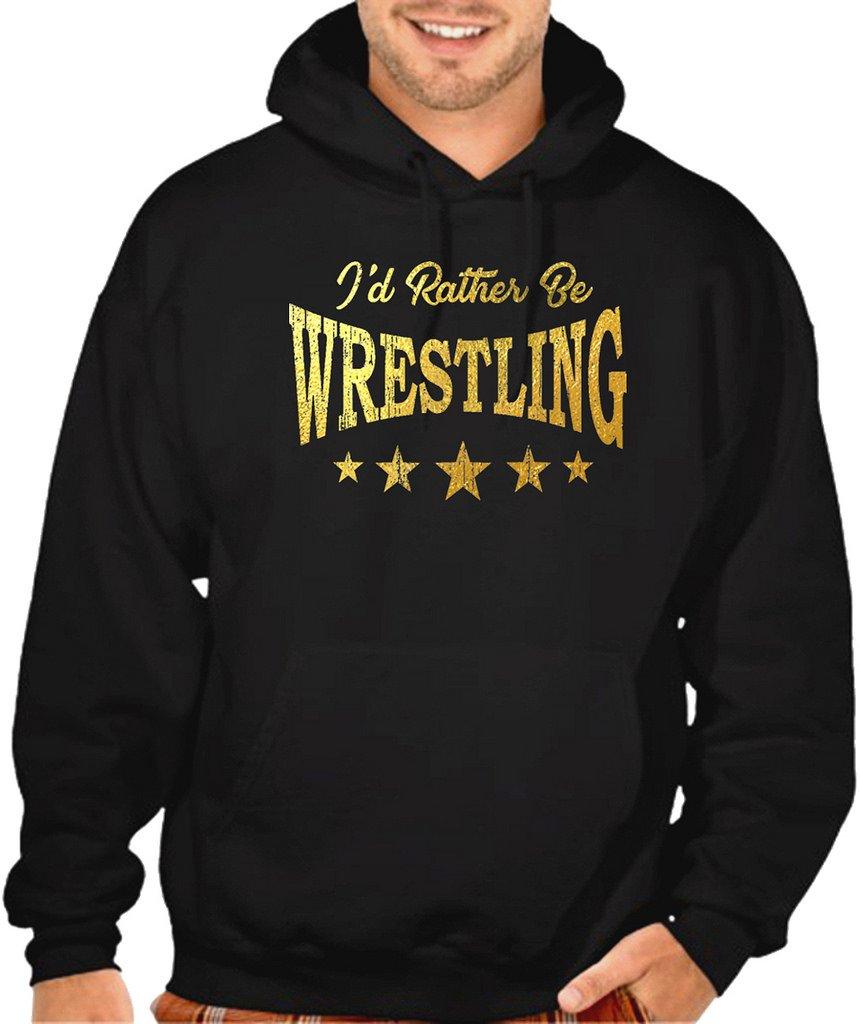 Interstate Apparel Men's Gold Foil I'd Rather Be Wrestling Black Pullover Hoodie Sweater X-Large Black