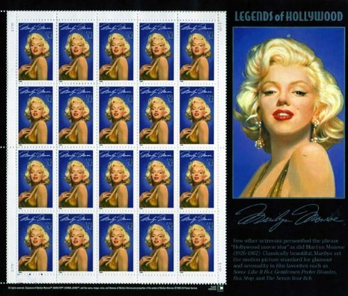 (Marilyn Monroe: Legends of Hollywood, Full Sheet of 20 x 32-Cent Postage Stamps, USA 1995, Scott 2967)