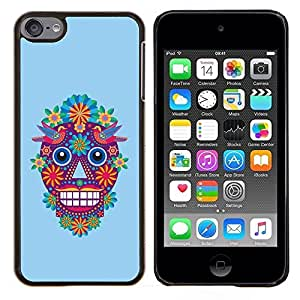 Planetar® ( Cráneo Flores Cartoon primavera Blue Devil ) Apple iPod Touch 6 6th Touch6 Fundas Cover Cubre Hard Case Cover