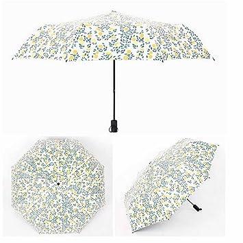 CHENGYUAN 1PC Simple hogar elegante debe paraguas soleado Three Fold parapeto plástico lluvia (Negro)