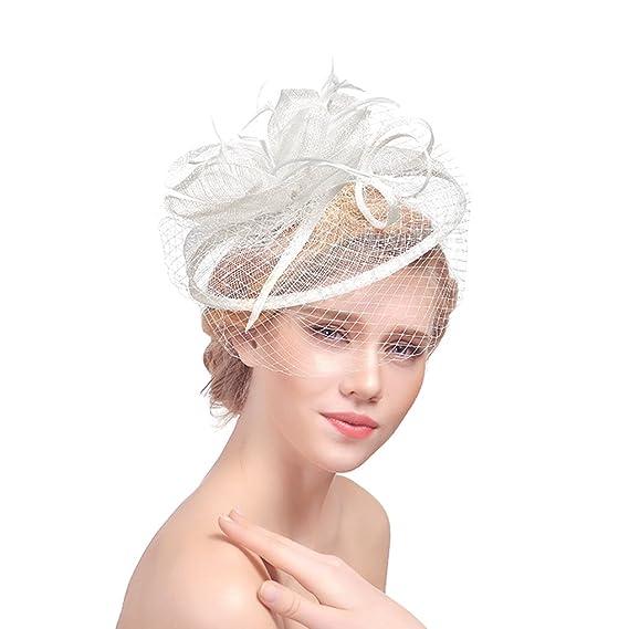 renommée mondiale magasin d'usine vente moins chère Femme Petit Chapeau Vintage Bibi Serre Tête Mariage avec Voilette Elégant  Bandeau Fascinator Hat Coiffure Voile avec Plume Pince pour Engagement ...