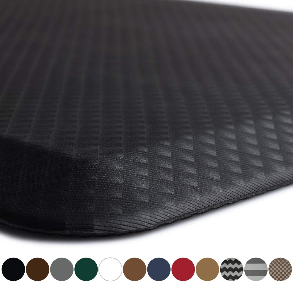 "Kangaroo Brands Original 3/4"" Anti Fatigue Comfort Standing Mat Kitchen Rug, Phthalate Free, Non-Toxic, Waterproof, Ergonomically Engineered Floor Pad, Rugs for Office Stand Up Desk, 32x20 (Black)"