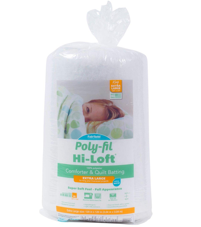 White King Size 120 x 120 Fairfield Poly-Fil Hi-Loft 100/% Bonded Polyester Batting