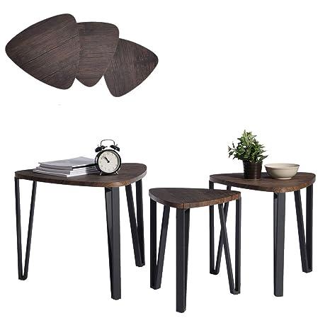 Aingoo Tavolini Sovrapponibili Set di 3, tavolini da caff, tavoli da ...