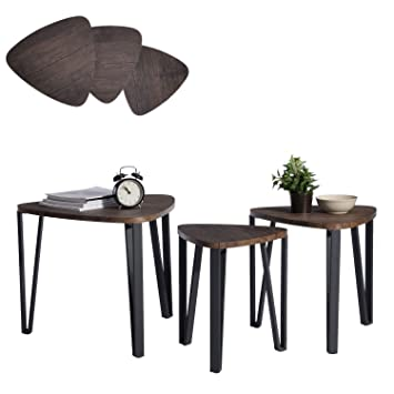 aingoo set of 3 nesting tables coffee table set end side tables wood