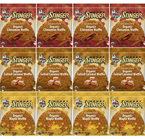 Honey Stinger GLUTEN FREE Waffle Variety Sampler Pack, 12 waffles, 4 of each flavor