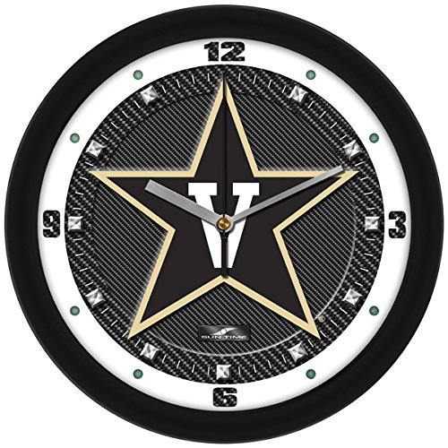 Commodore Clock - SunTime NCAA Vanderbilt Commodores Textured Carbon Fiber Wall Clock