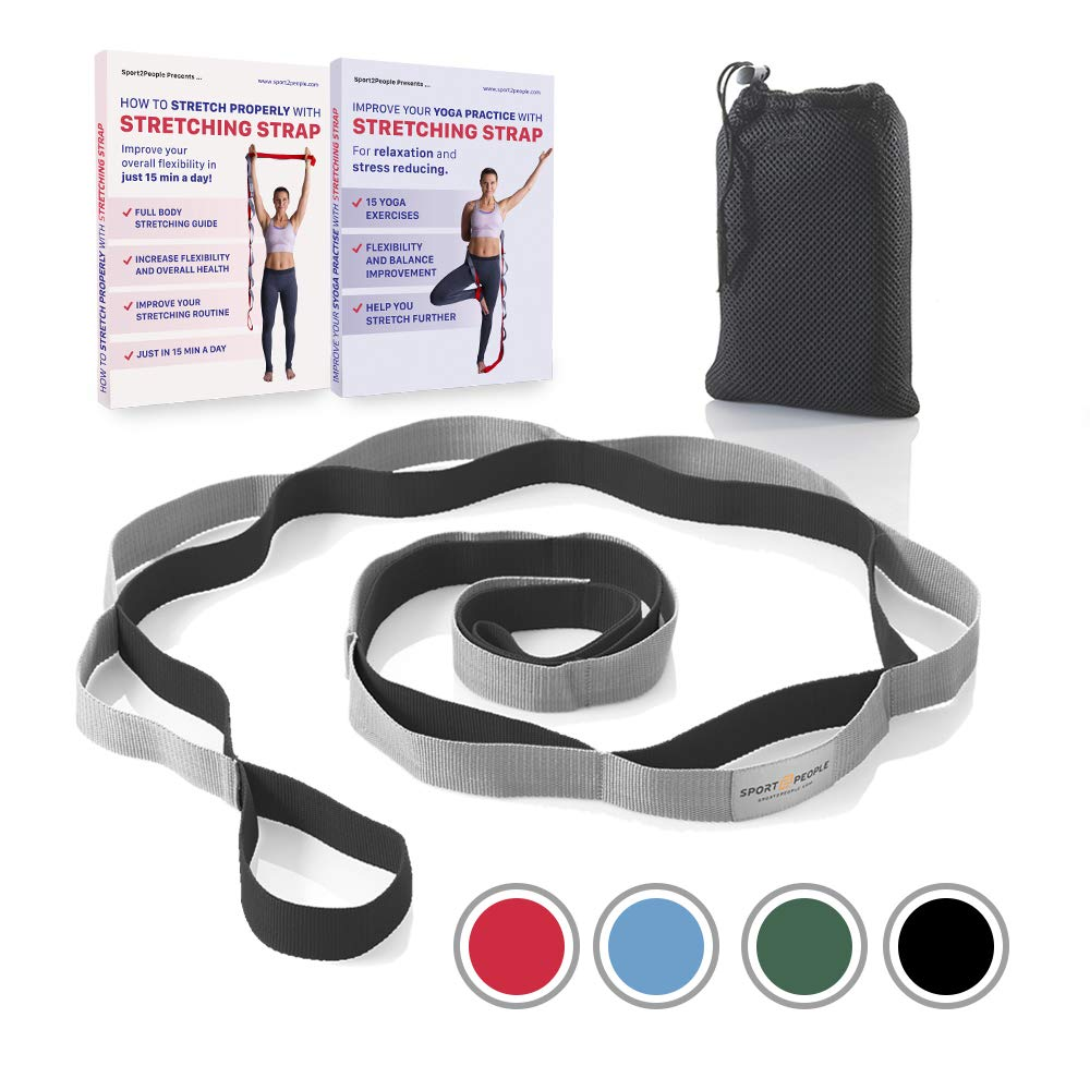 Sport2People Yoga Gurt für Stretching - Nicht Elastisch Fitness und Gymnastik Band mit 12 Schlaufen für Tanzen, Ballett, Training - empfohlen Physikalische Therapie Equipment Training - empfohlen Physikalische Therapie Equipment (Blau-grau)