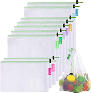 Btromeshy Premium Reusable Mesh Produce Bags,9 Pack Lightweight See-Through Washable Bags For Grocery Shopping Storage Fruit,Vegetable and Toys,with Color Tare Weight on Tags,Large,Medium & Small