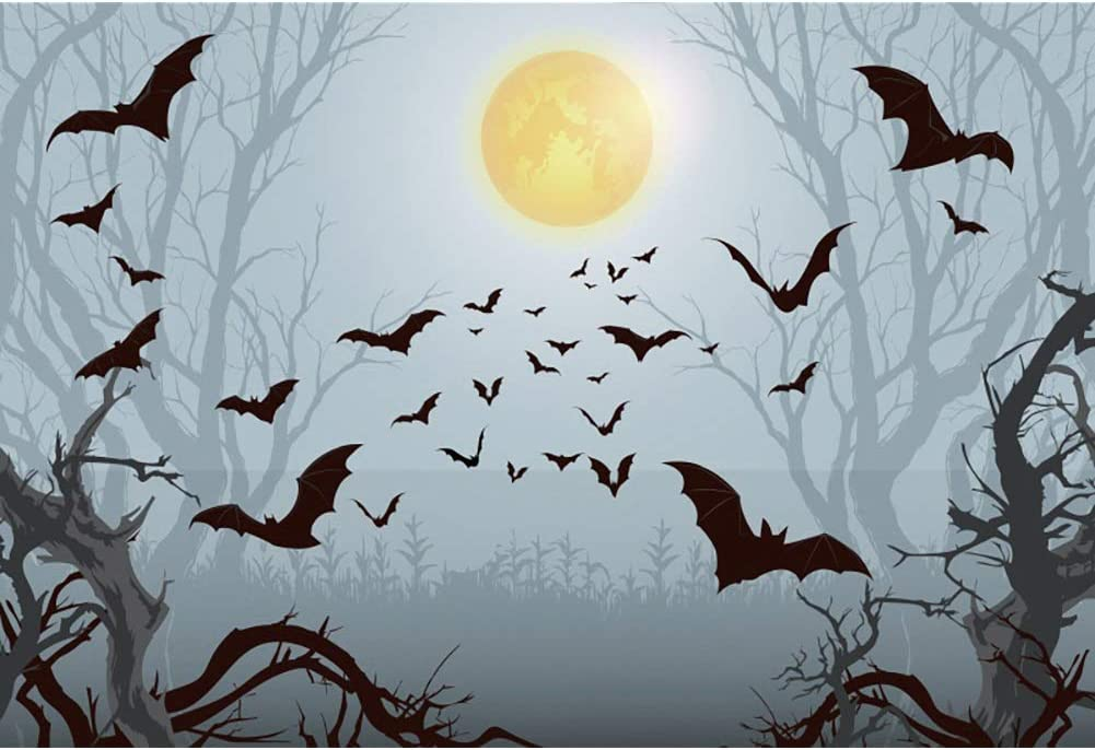 OERJU 12x8ft Happy Halloween Backgrounds Full Moon Gloomy Forest Background Children Newborn Portrait Background Party Birthday Banner Baby Shower Decorations Decor Photo Booth Shoot Props