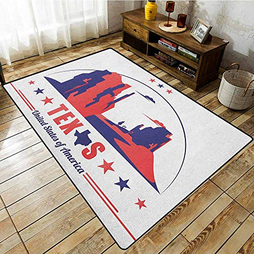 Indoor/Outdoor Rug,Texas Star,Texas State Map with Cowboy Silhouette Among Canyons Desert Design,Anti-Slip Doormat Footpad Machine Washable,3'11