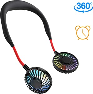 Portable Hanging Neck Fan,Hand Free Personal Wearable Fan with 2000mAh Battery