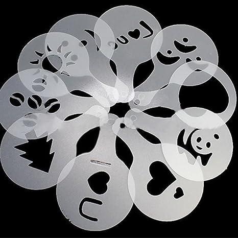 Diy Malerei Zeichenschablonen F/ür Scrapbooking Cupcake Dekor Kaffee-Dekorations Schablone Kaffee Kunst Schablonen Barista-Schablone Puderzuckerstreuer Streuer F/ür Kaffee Cookie Icing Kuchen