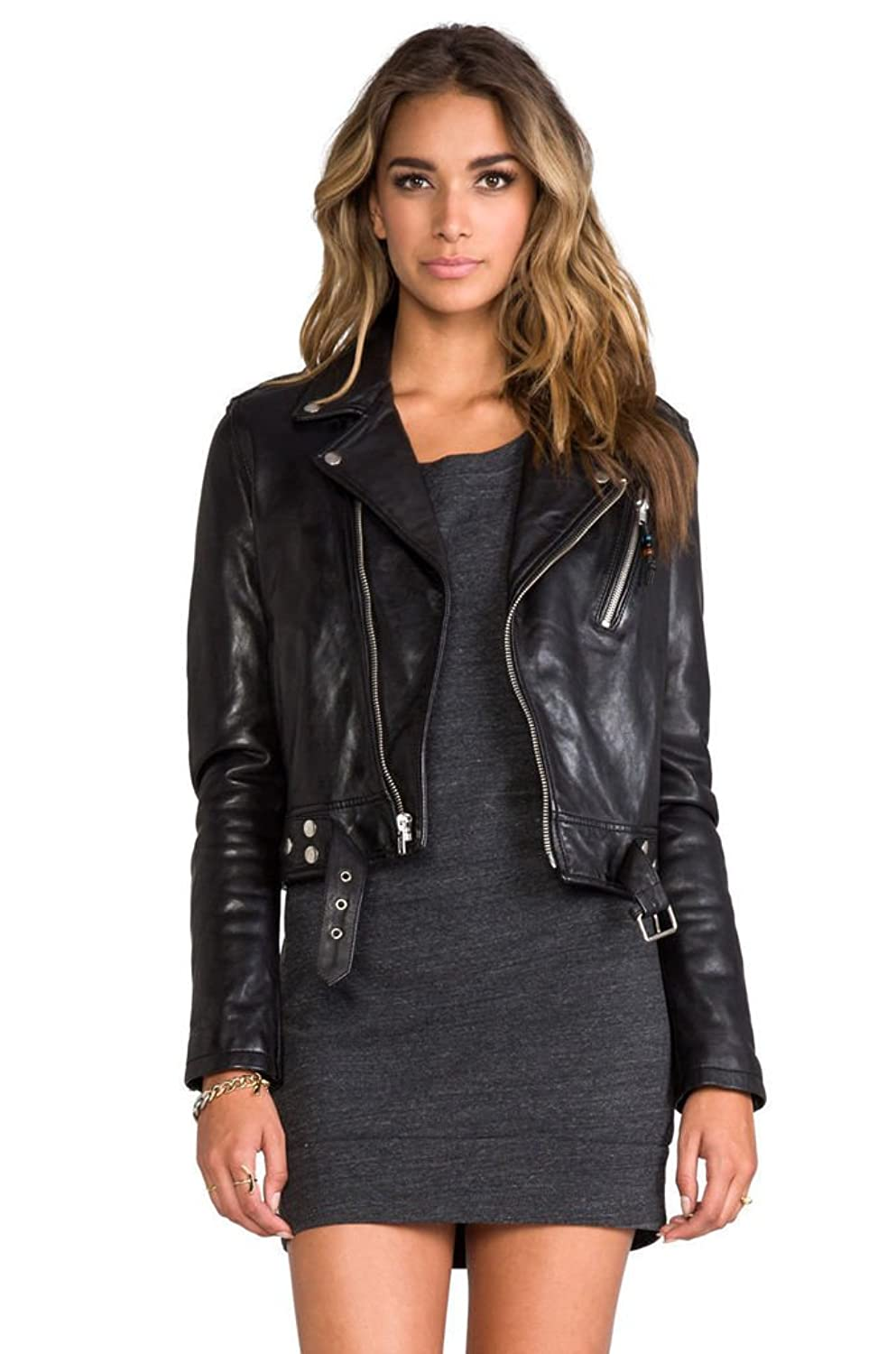 Ladies black leather jacket sale
