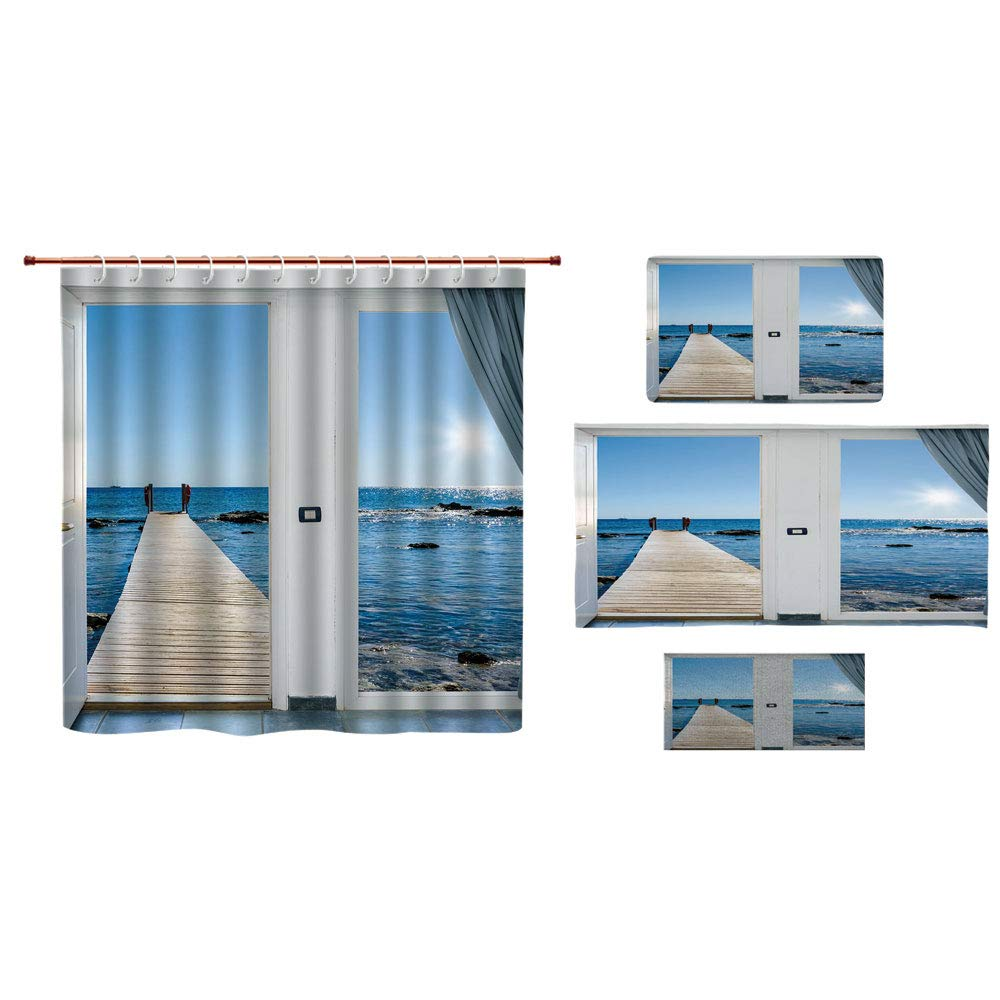 iPrint Bathroom 4 Piece Set Shower Curtain Floor mat Bath Towel 3D Print,Ocean Sea Sunny Scenery with Patio from Window,Fashion Personality Customization adds Color to Your Bathroom.
