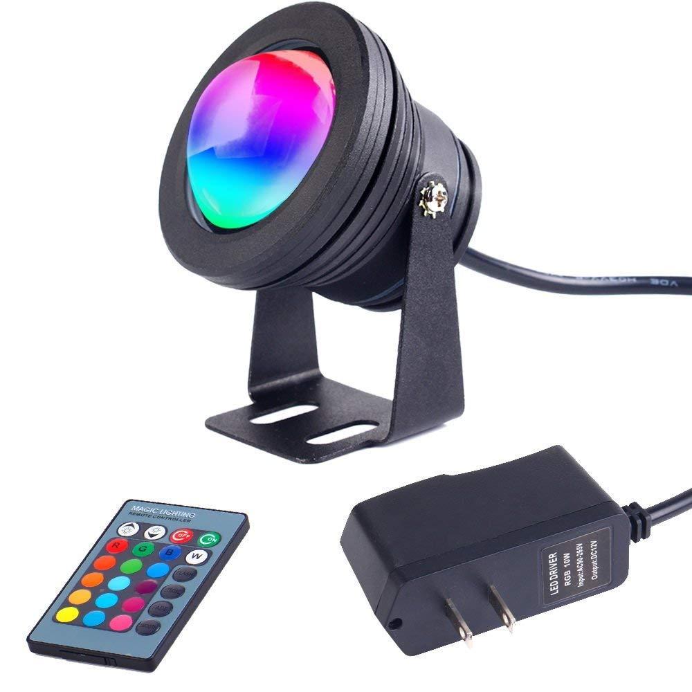 10W 12V RGB Llevó Estanque Luz-1100Lm IP67 Impermeable Al Aire Libre Spotlight Con Mando A Distancia Y 80,7-Pulgadas Adaptador Para Paisaje Estanque De Tanque De Peces Piscina Fuente Jardín (Negro) [Clase de eficiencia energética A] XDLUK