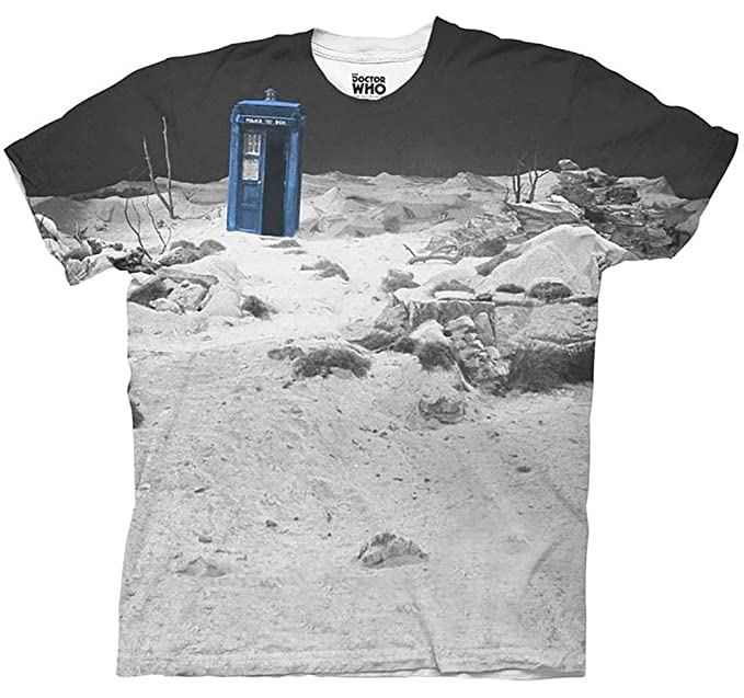 Doctor Who Tardis Prehistoric Earth adultos Color Blanco Camiseta de sublimación: Amazon.es: Ropa y accesorios