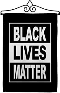"USA Made Can't Breathe BLM Garden Flag Set Wall Hanger Support Cause Anti Racism Revolution Movement Equality Social House Decoration Banner Small Yard Gift Double-Sided, 13""x 18.5"", Thick Fabric"