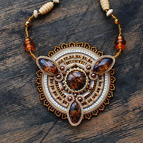 (Soutache handmade embroidered light beige gold brown orange statement circle pendant, Beaded big round necklace, Fabric oriental bohemian sparkly boho ethnical jewelry for woman)