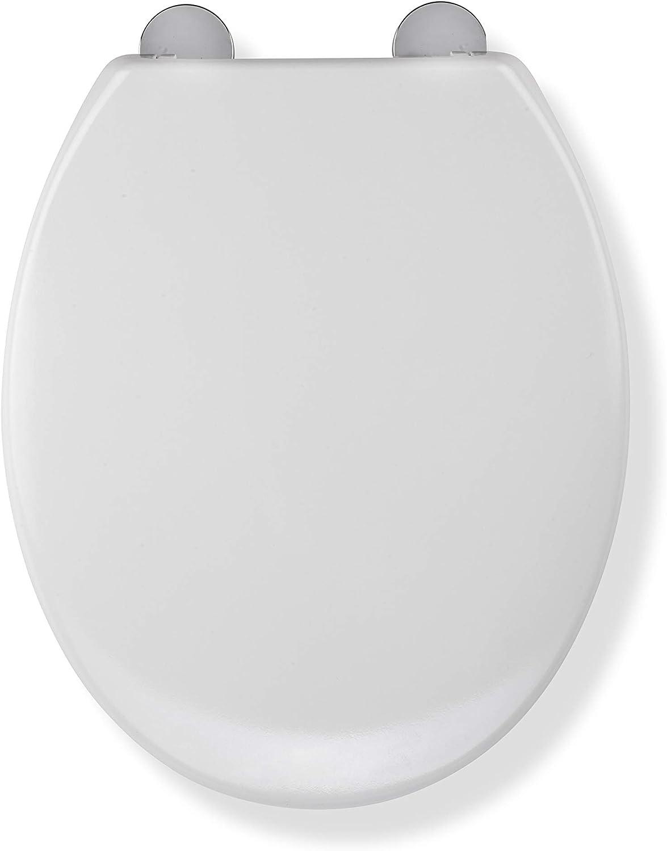 Croydex Flexi Fit jamais feuillets en bois siège de toilette anti bac blanc charnières Chrome