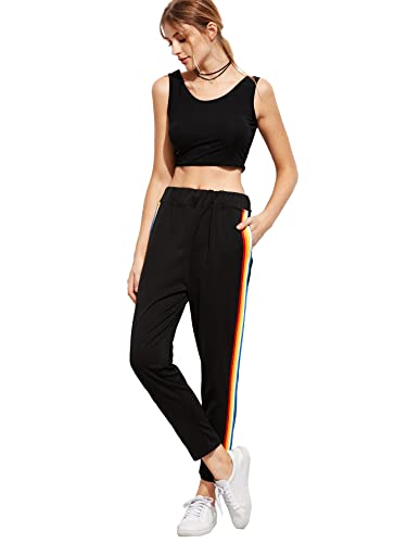 Romwe Women's Casual Athletic Rainbow Stripe Sweatpants Yoga Elastic Mid Waist Jogger Track Pants by Romwe