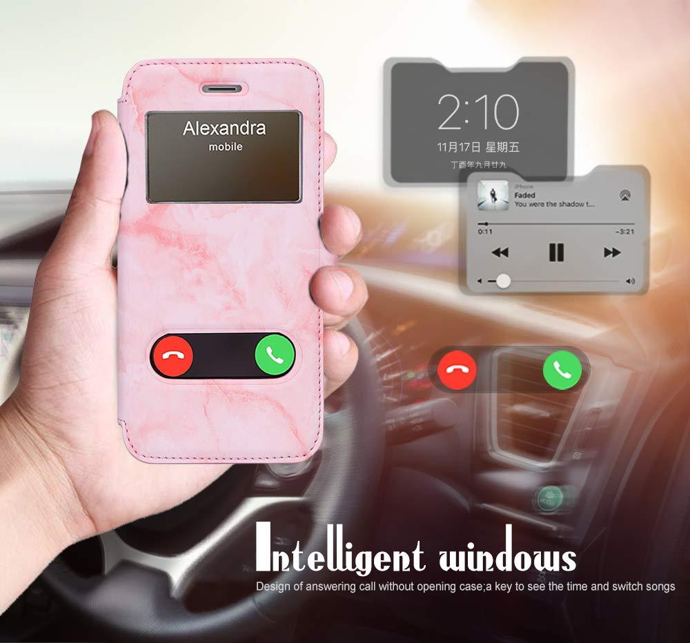 Housse Magnetique Smart View avec Fen/être dOuverture pour Apple iPhone 6S//6 Noir Coque iPhone 6 FYY Coque iPhone 6S