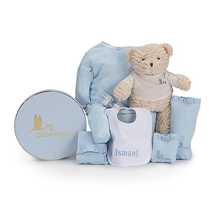 Canastilla regalo bebé Mi Babero Bordado- BebeDeParis- Azul- Cesta para bebés con babero