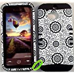 Cellphone Trendz Heavy Duty High Impact Hybrid Rocker Case Cover for HTC One M8 – Black Silicone With Hard Black Flower Design On White