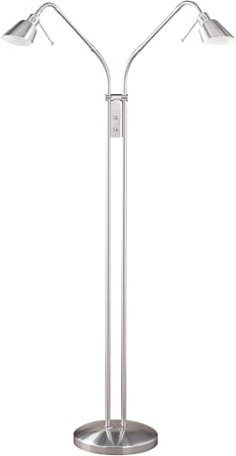Kendal Lighting FL4048-2-SN 42-Inch Portable Task/Reading 2-Light Floor Lamp