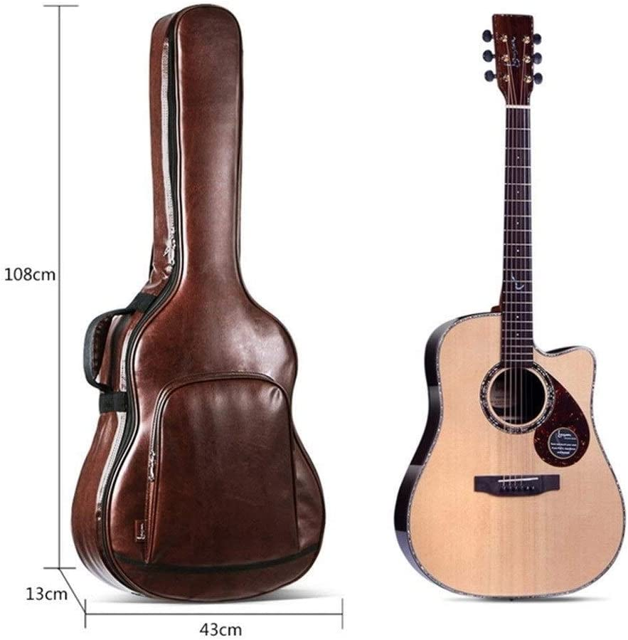 Padded Shoulder Waterproof And Shockproof Leather Bag Wuhuizhenjingxiaobu Guitar Bag Personalized PU Leather Acoustic Guitar Bag Color : Brown-40//41inch 40//41 Inch Universal Model Brown