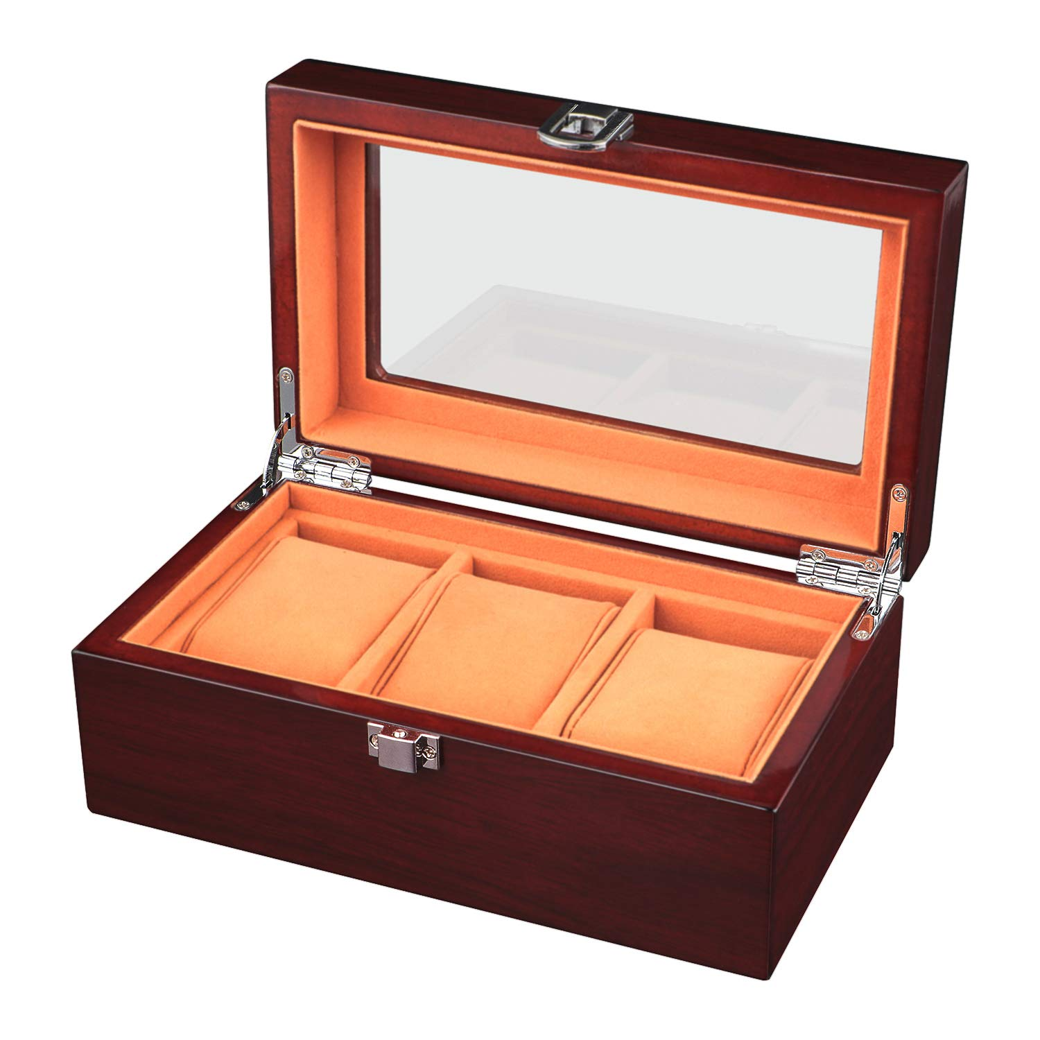 Watch Box Wooden 3 Slots Watch Case Jewelry Display Storage Boxes with Large Plastic Windows Top and Removal Storage Pillows Brown