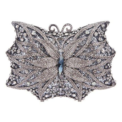 Handbags For Shape Gray Butterfly Ladies Bag Purse Shining Evening Clutch Blue Bonjanvye wq7tZH6nw