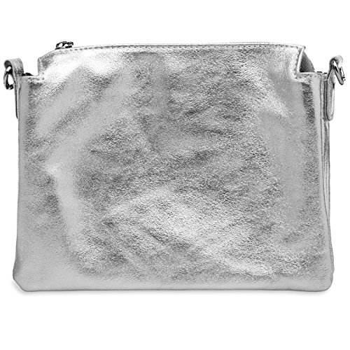 TL776 CASPAR Ladies Metallic Silver Genuine Leather CASPAR Shoulder TL776 Bag E7wCg1qE
