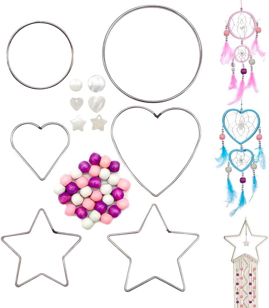 Wooden Beads SwirlColor Dream Catcher Hoops Circle Heart-shape ...