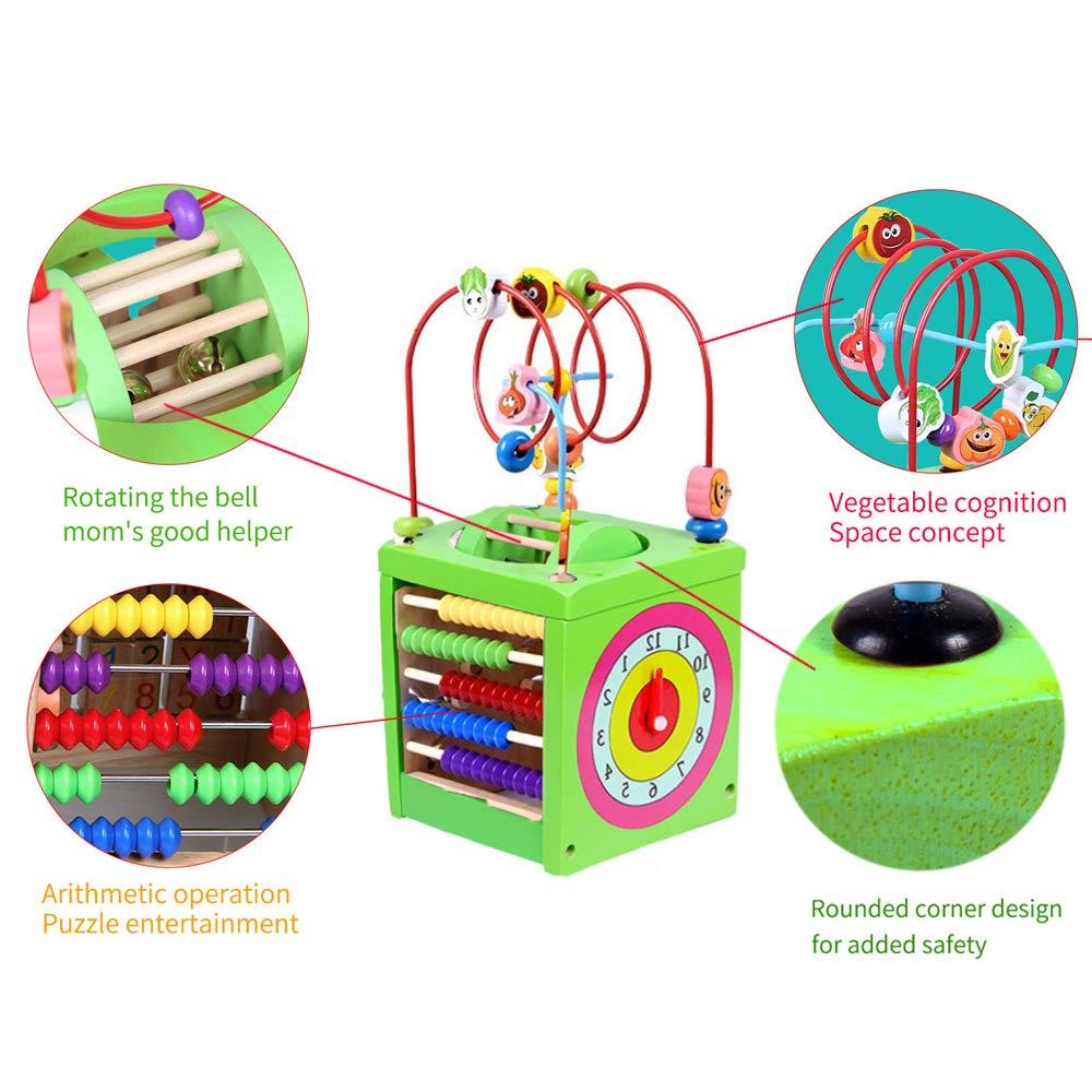 BeebeeRun Holz Activity Cube 6 in 1 Baby Bead Labyrinth Spielzeug p/ädagogisches Holzspielzeug Geschenk f/ür Kleinkinder und Kinder Green