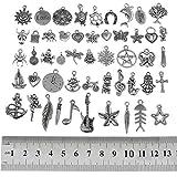 RUBYCA 50Pcs Wholesale Bulk Lots Tibetan Silver Color Mix Pendants Charms Bracelet Jewelry Mix1