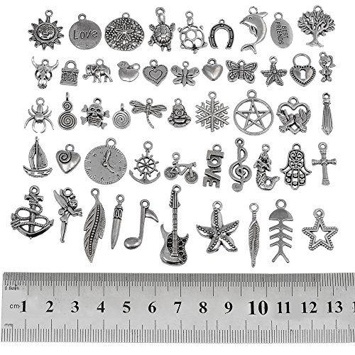 (RUBYCA 100Pcs Bulk Mixed Silver Charms for Jewelry Making Bracelet Small Pendants for Necklace Antiqued Silver Color - Just Like the Picture)