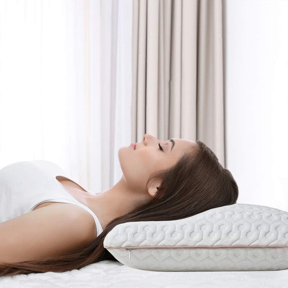 BedStory Almohada Viscoelastica Gel 60x40cm Almohadas Cervicales en Forma Ergonomica con Funda Desmontable y Lavable Reduce Dolores Almohada de Cervicales Adecuada para Todas Posicións para Dormir