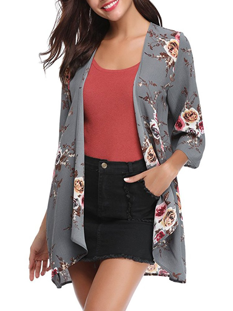 Lynwitkui Womens Floral Printed Chiffon Kimono Cardigan Short Sleeve Casual Summer Beach Cover up Blouse Tops Outwear S-XL