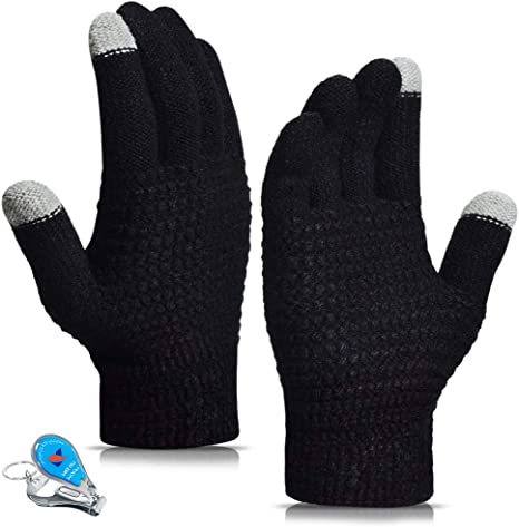 Grey Winter Men Thicken Warm Touch Screen Motorcycle Mittens Knitted Outdoor Gloves size One size