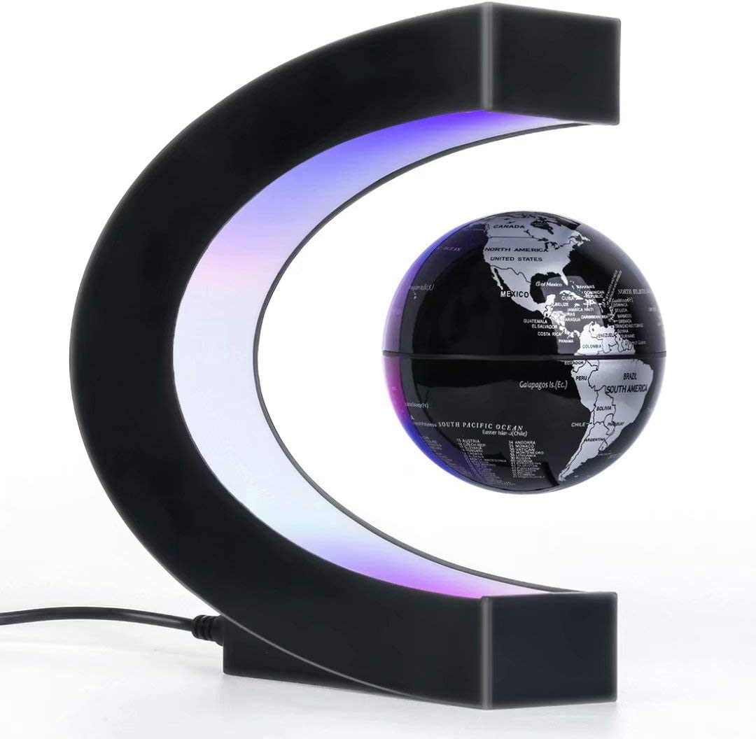 Magnetic Levitation Floating Globe with LED Light, Desk Gadget Decor, Fixture Floating Globes & Shade, Cool Tech Gifts for Men/Father/Husband/Boyfriend/Kids/Boss, Great gift idea