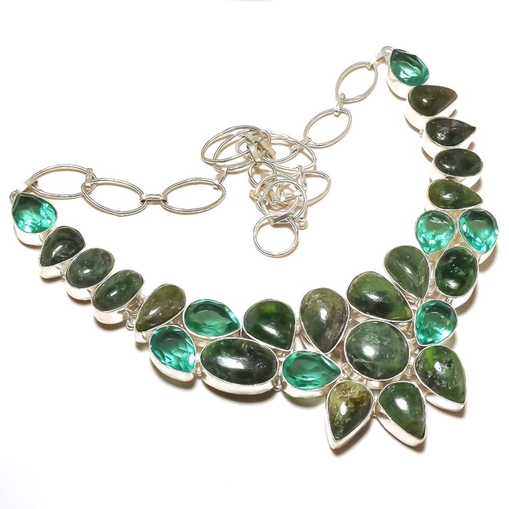 Green Aventurine Ethnic Wear Apatite Quartz Sterling Silver Overlay 92 grams Necklace 17-18