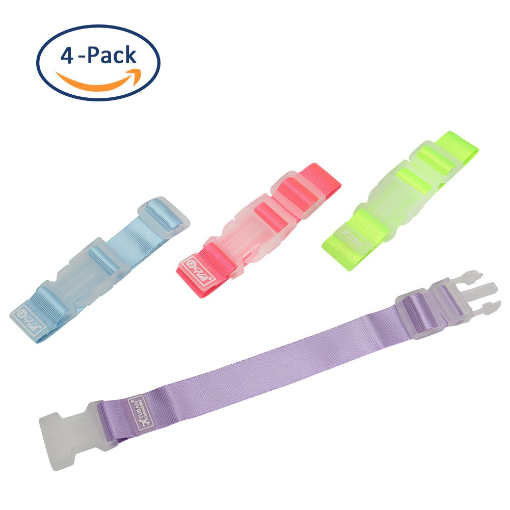 Pearpeach Luggage Straps Four-color backpack expansion buckle,Add a Bag Luggage Strap Adjustable Suitcase Belt Travel Attachment Travel Bag Accessories for Connect Your Luggages Pack of 4,4Color