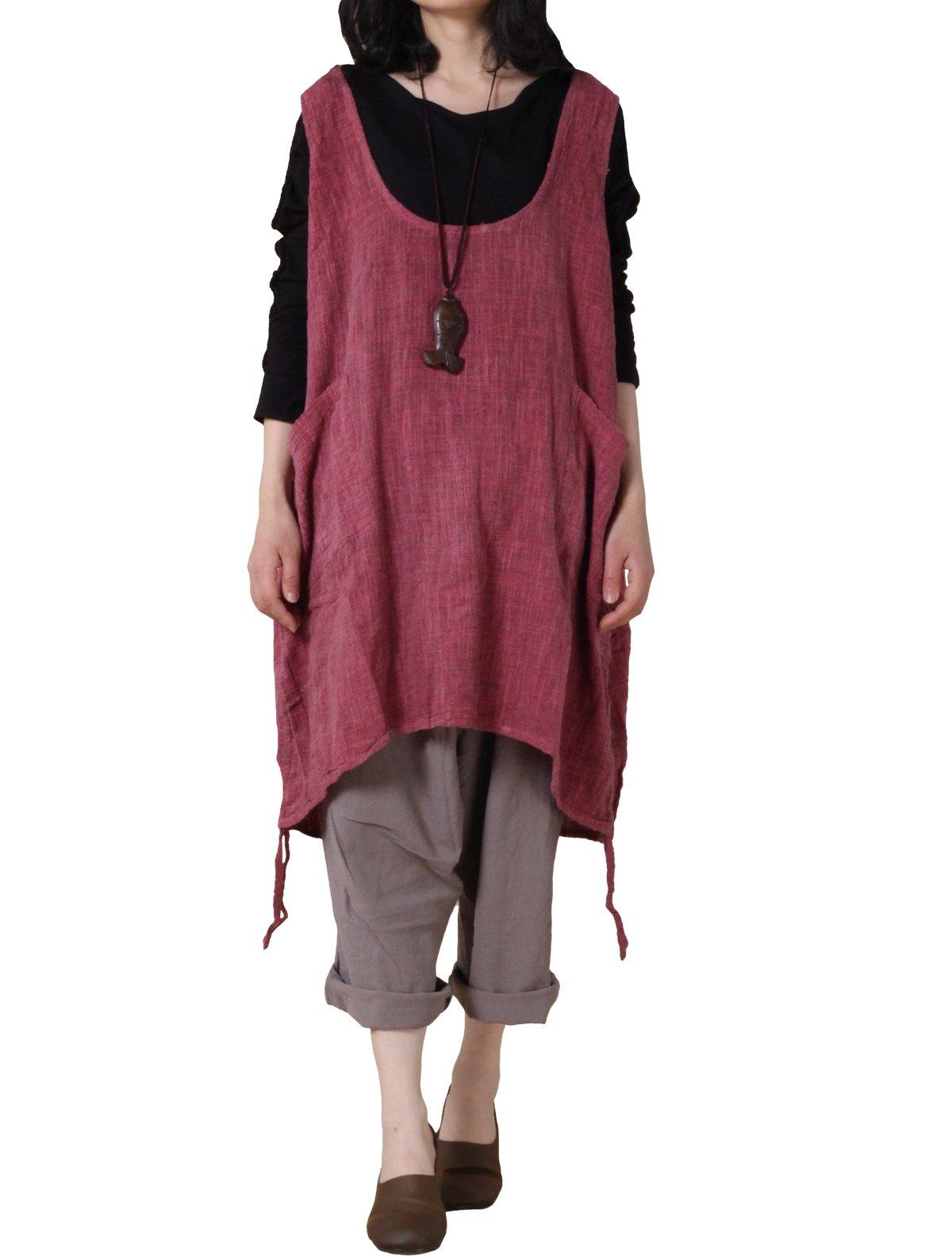 Mordenmiss Women's Summer Vest Dress Pull-up Hem Top L Dark Pink