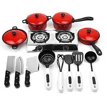 Vococal-13pcs Educativo Juguete de Utensilios de Cocina / Set de Cocina Incluyen Cocina ollas,sartenes,Cocina Comida,Platos,Utensilios de Cocina para niños: ...
